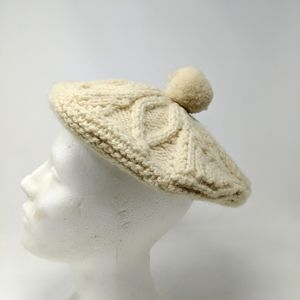 Vtg Cable Knit 50s 60s Ivory Beret